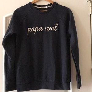 "Emoi emoi ""papa cool"" navy sweatshirt, medium"